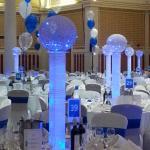 party decor, illuminated table centres
